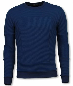 Black Number 3D Ribbel Square Crewneck- Sweater - Blue