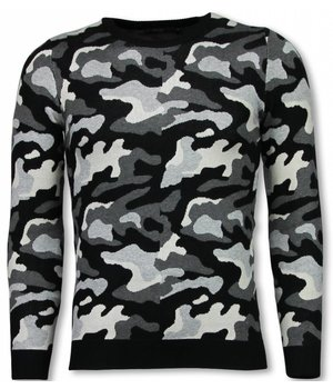 John H Military Sweater - Camouflage Pullover - Grey