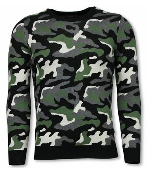 John H Military Sweater - Camouflage Pullover - Green