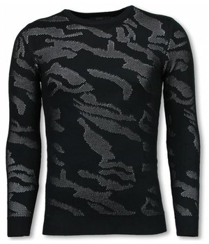 John H 3D Camouflage Pattern Sweater - Neon Pullover - White