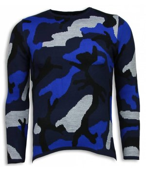 John H Dazzle Paint Sweater - Camouflage Long Fit Sweater - Blue