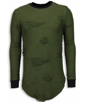 John H Destroyed Look Sweater - New Trend Long Fit Sweater - Green