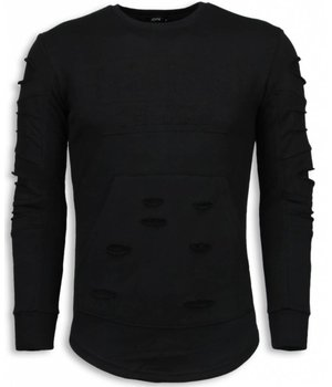 John H 3D Stamp PARIS Sweater - Damaged Sweater - Black