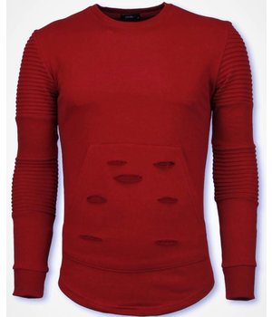 John H Ribbel Schoulder Sweater - Damaged Pocket Sweater - Red