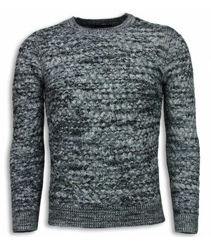 Enos Knitted Men's Pullover - Color Sweater Long Sleeve - Grey