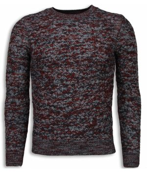 Enos Knitted Men's Pullover - Color Pullover Long Sleeve - Red