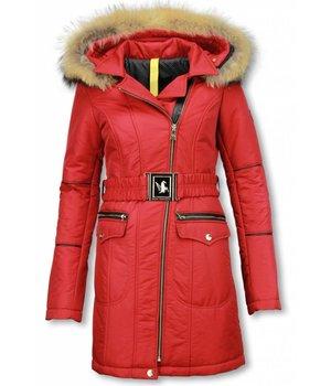 Milan Ferronetti Fur Collar Coat - Women's Winter Coat Long  - Oblique Zipper - Stitch Pockets - Red
