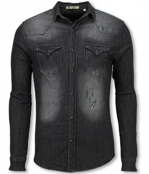 Enos Denim Shirts - Slim Fit Long Sleeve Shirt - Washed - Grey