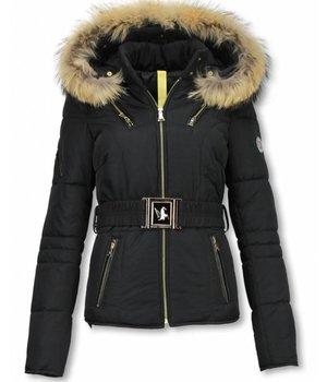 Milan Ferronetti Fur Collar Coat - Women's Winter Coat Short- Sorento Edition - Black