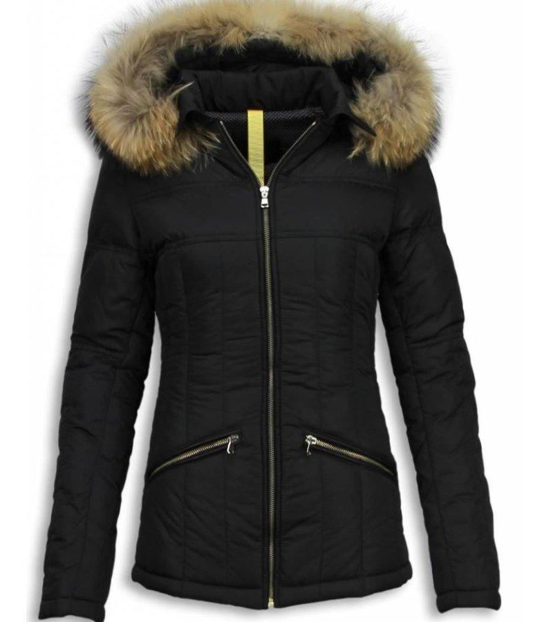 Milan Ferronetti Fur Collar Coat  - Women's Winter Coat Short - Beads Edition - Black