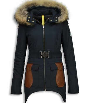 Milan Ferronetti Fur Collar Coat - Women's Winter Coat Long - Abstract Belt - Leather pieces - Blue