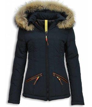 Milan Ferronetti Fur Collar Coat  - Women's Winter Coat Short - Beads Edition - Blue