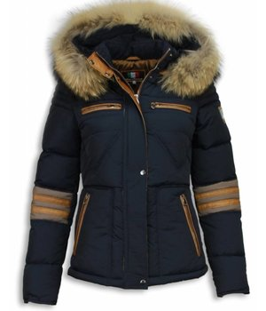Milan Ferronetti Fur Collar Coat - Women's Winter Coat Short - Triangle Pattern - Blue