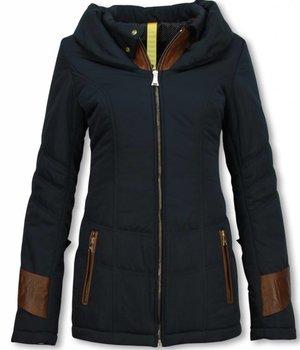 Milan Ferronetti Fur Collar Coat - Women's Winter Coat Mid Long - Regular Slim - Fit Edition - Blue