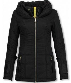 Milan Ferronetti Fur Collar Coat -Women's Winter Coat Mid Long  - Regulair Slim - Fit Edition - Black