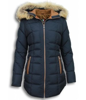Milan Ferronetti Fur Collar Coat - Women's Winter Coat Long - Stitched- Country Edition - Blue