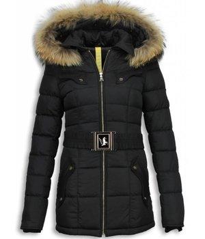 Milan Ferronetti Fur Collar Coat - Women's Winter Coat Mid Long - Black On Black Edition - Black