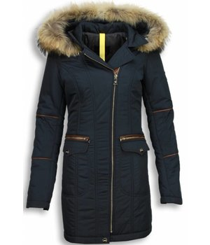 Milan Ferronetti Fur Collar Coat  - Women's Winter Coat Long - Oblique Zipper and Stitch Pockets - Blue