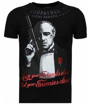Local Fanatic Godfather - Rhinestone T-shirt - Black