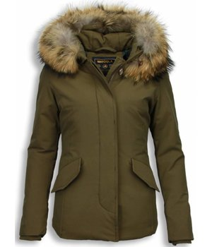 Beluomo Fur Collar Coat - Women's Winter Coat Wooly Short - Green