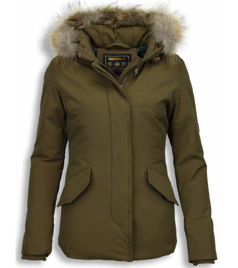 Beluomo Fur Collar Coat - Women's Winter Coat Wooly Short - Green