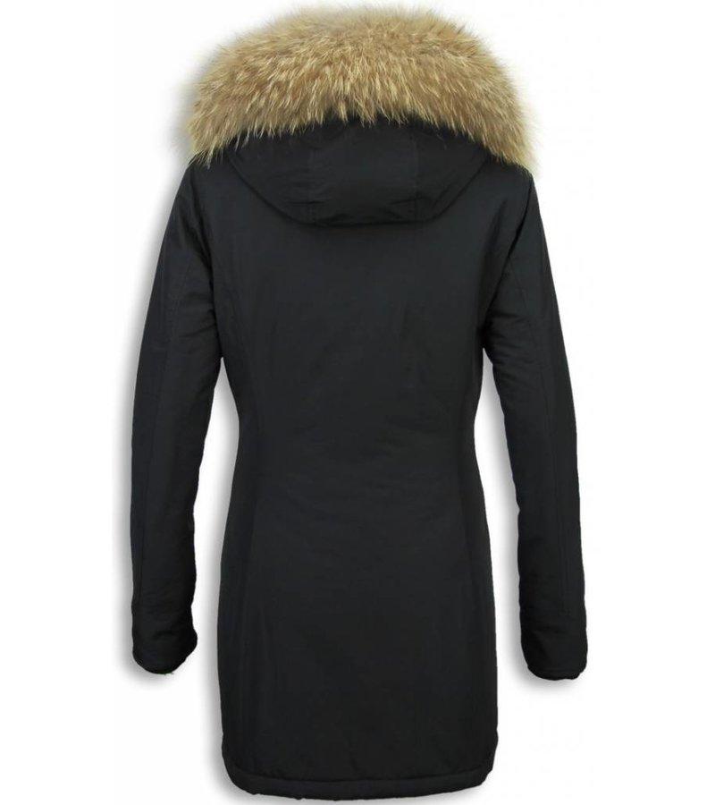 Gentile Bellini Fur Collar Coat  -  Women's Winter Coat Wooly Long - Large Fur Collar - Black