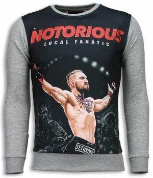 Local Fanatic Notorious McGregor - Digital Rhinestone Sweater - Light Grey