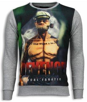 Local Fanatic Popeye Revenge - Digital Rhinestone Sweater - Light Grey