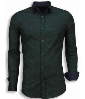 Gentile Bellini Italian Shirts - Slim Fit Long Sleeve Shirt - Camouflage - Green