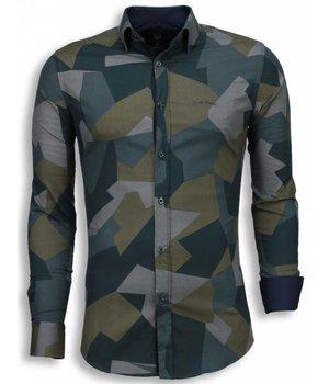 Gentile Bellini Italian Shirts - Slim Fit Long Sleeve Shirt - Modern Army Pattern - Green