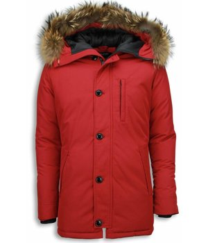 Enos Fur Collar Coat  - Men Winter Coat Long - Large Fur Collar- Parka Exclusive - Red