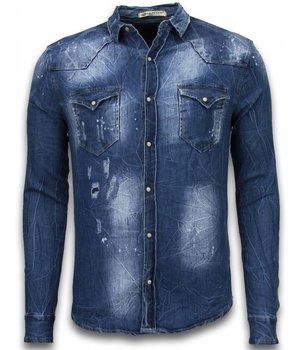 Enos Denim Shirts - Slim Fit Long Sleeve Shirt - Vintage Look - Blue