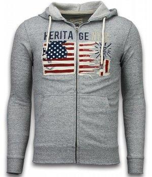 Enos Casual Hoodie - Embroidery American Heritage - Grey