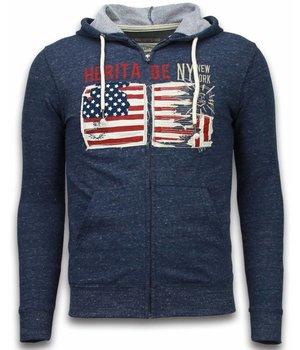 Enos Casual Hoodie - Embroidery American Heritage - Blue