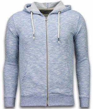 Enos Casual Hoodie - Melange Zen Fleece - Blue