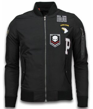 David Copper Bomber Jacket - Exclusive Airborne Patches - Black