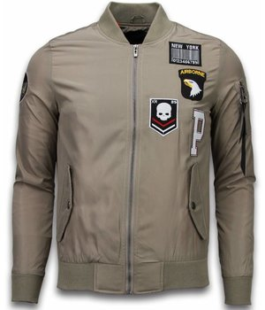 David Copper Bomber Jacket - Exclusive Airborne Patches - Beige