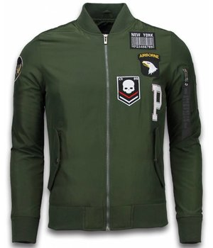 David Copper Bomber Jacket - Exclusive Airborne Patches - Green