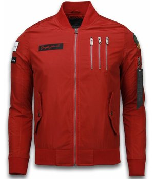 David Copper Bomber Jacket - Eagle Attack Jack - Red