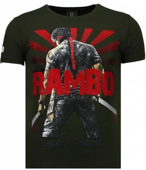 Local Fanatic Rambo Shine - Rhinestone T-shirt - Green