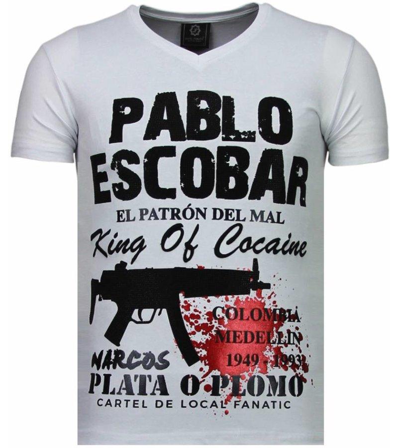 Local Fanatic Pablo Escobar Narcos - Rhinestone T-shirt - White