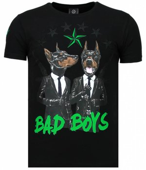 Local Fanatic Bad Boys Pinscher - Rhinestone T-shirt - Black