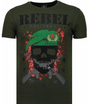 Local Fanatic Skull Rebel - Rhinestone T-shirt - Green