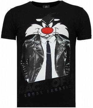 Local Fanatic Pussy Cat - Rhinestone T-shirt - Black