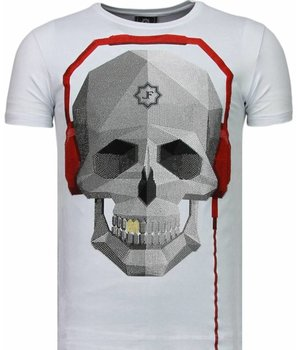 Local Fanatic Skull Bring The Beat - Rhinestone T-shirt - White
