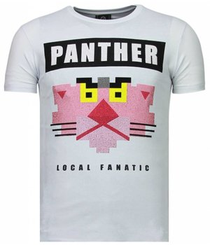 Local Fanatic Panther For A Cougar - Rhinestone T-shirt - White