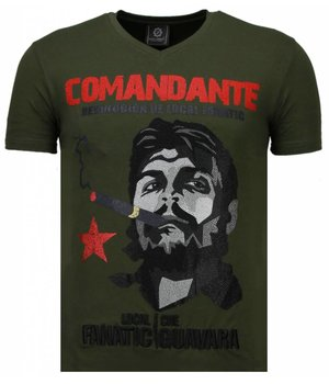 Local Fanatic Che Guevara Comandante - Rhinestone T-shirt - Green