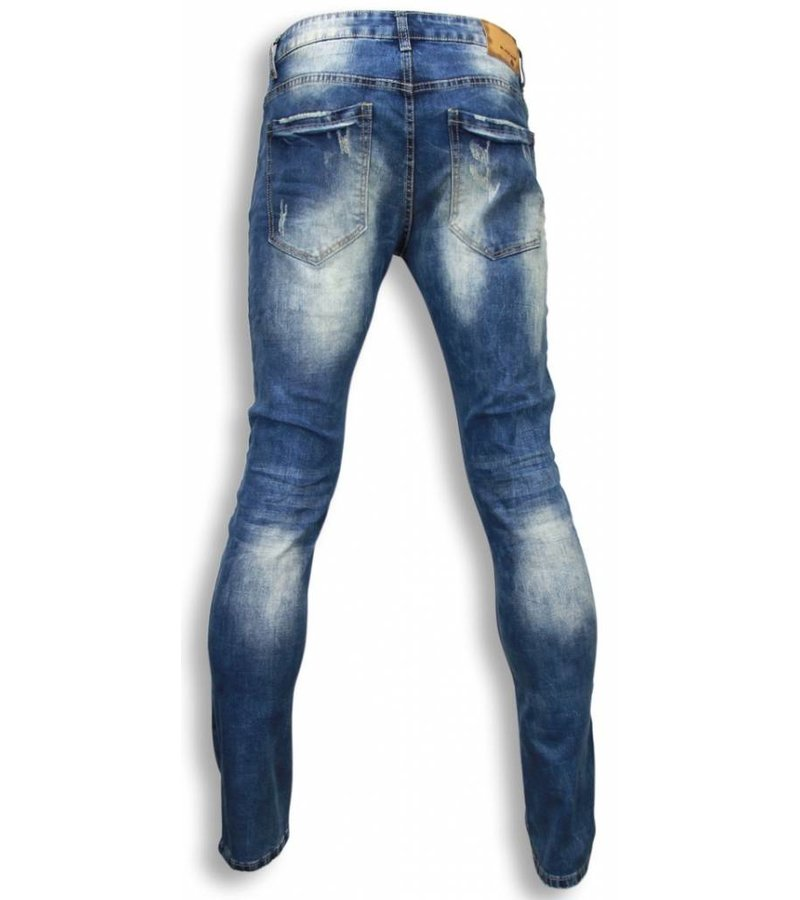 Black Ace Exclusive Jeans - Slim Fit Damaged Look Stitched - Blue