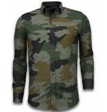 Gentile Bellini Italian Shirts - Slim Fit Long Sleeve Shirt - Classic Army Pattern - Green