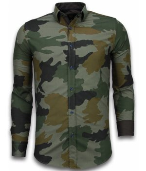 Gentile Bellini Italian Shirts - Slim Fit Long Sleeve Shirt - Classic Army Pattern - Green